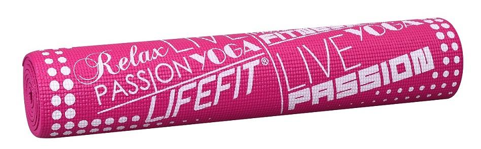 Gymnastická podložka LIFEFIT SLIMFIT PLUS, 173x61x0,6cm, světle růžová