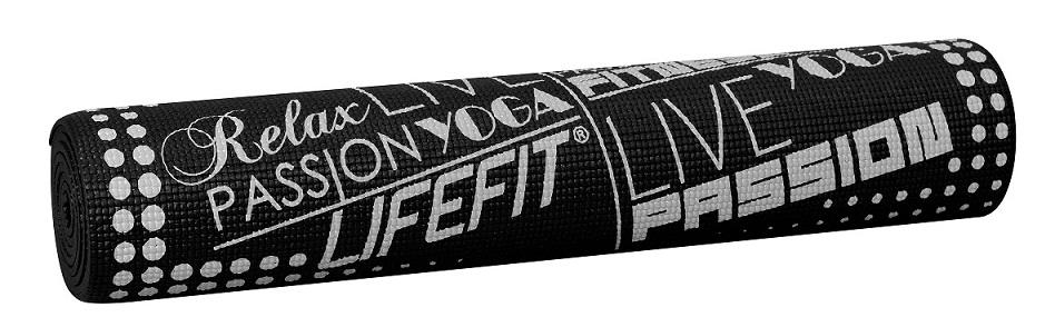 Gymnastická podložka LIFEFIT SLIMFIT PLUS, 173x61x0,6cm, černá