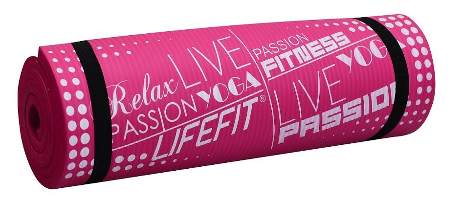 Podložka LIFEFIT YOGA MAT EXKLUZIV PLUS, 180x60x1,5cm, světle růžová