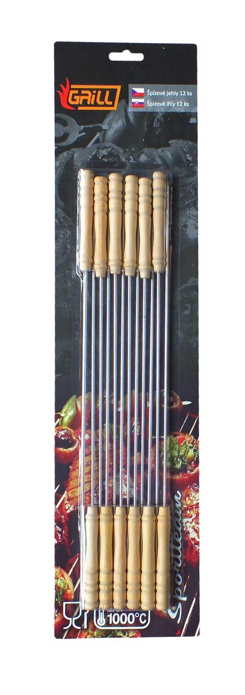Jehly špízové s dřevěnou rukojetí 28,5 cm 12 ks