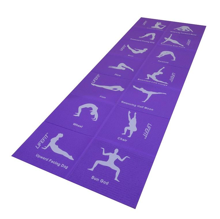 Podložka LIFEFIT YOGA MAT FOLD, 173x61x0,4cm, skládací, fialová