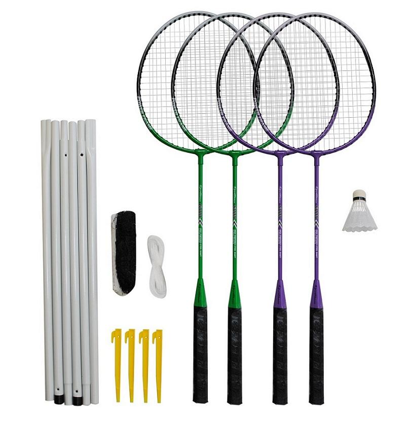 Badmintonový set 4x raketa, 1x míček, síť, vak