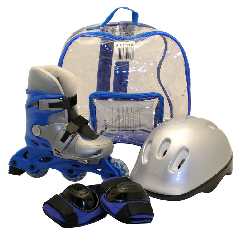Kolečkové brusle sada brusle+helma+chrániče vel.M 35-38, modré