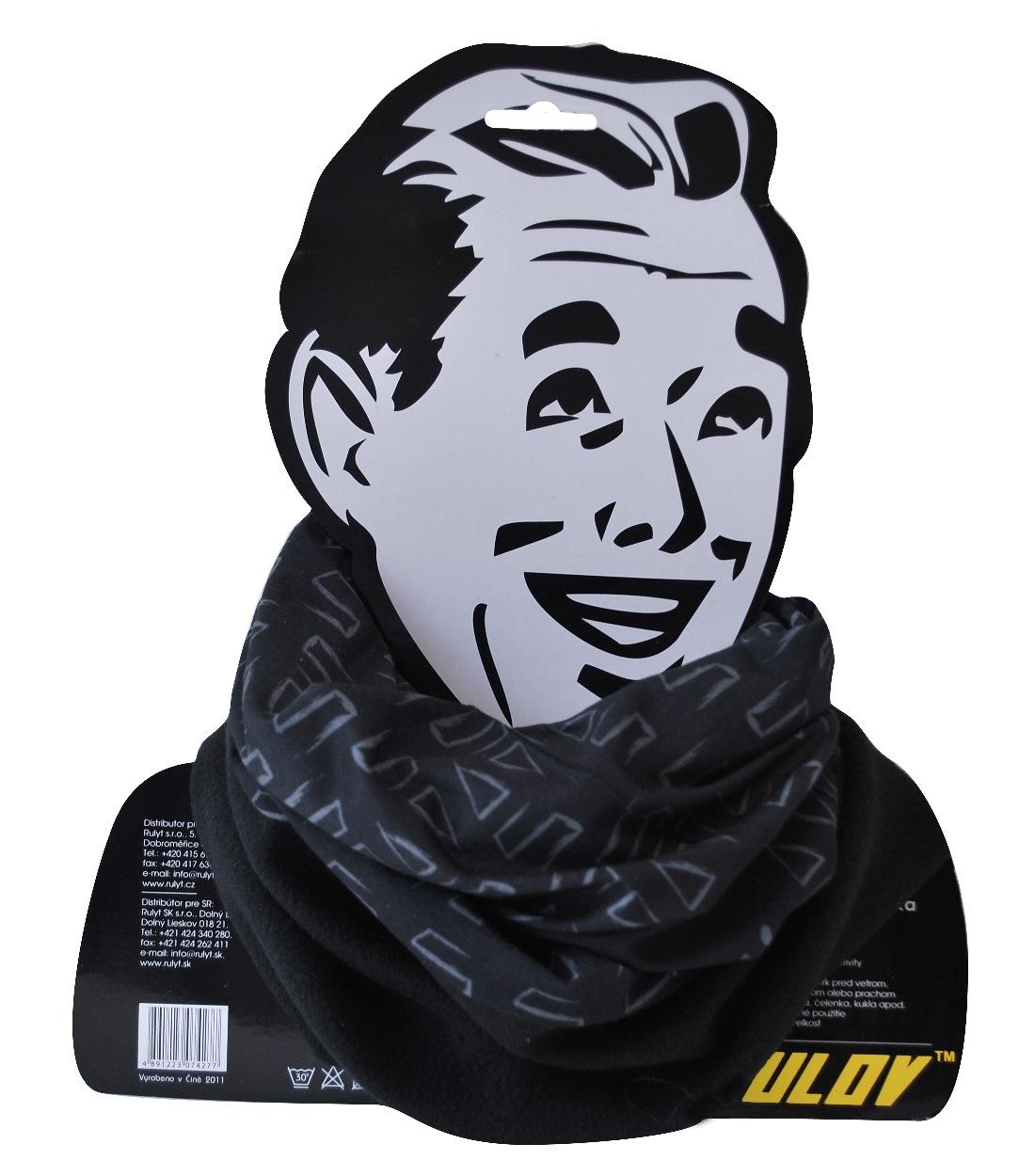 Sportovní šátek s flísem SULOV, černo-bílý