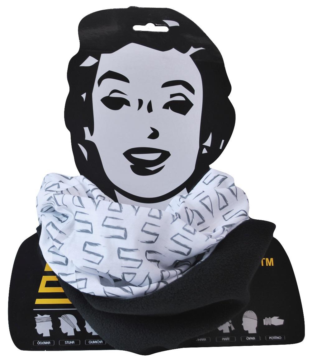 Sportovní šátek s flísem SULOV, bílo-černý