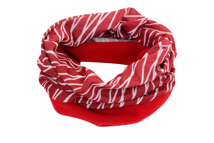 Sportovní šátek s flísem SULOV, červeno-bílý