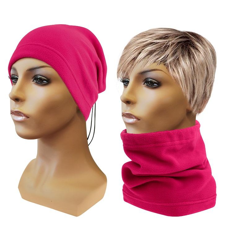 Multifunkční šátek 2v1 Fleece, růžový